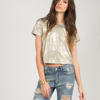 Rusted Gold Cropped Tee - Small