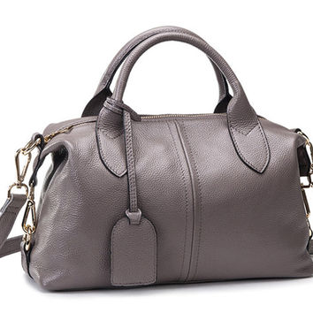 Medium Size Modern Causal Chic Grey Leather Tote. Ladies Gray Genuine Leather Handbag Leather Purse. Travel Bag