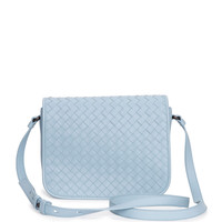 Small Woven Flap Crossbody Bag, Light Blue - Bottega Veneta