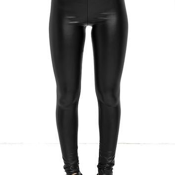 Rock Music Black Vegan Leather Leggings
