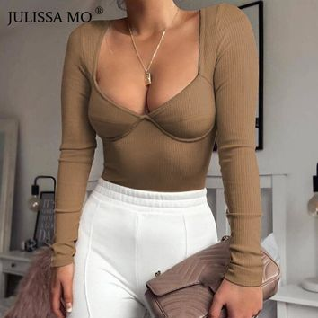 JULISSA MO Rib Knitted Long Sleeve Bodysuit Women Tops Sexy V Neck Skinny Rompers Womens Jumpsuit 2019 Spring Casual Basic Body