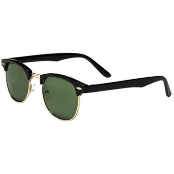 club masters sunglasses 87nl  Mechaly Clubmaster Style Black Sunglasses