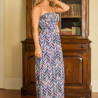 Spontaneity At Its Finest Maxi Dress, Navy-Orange