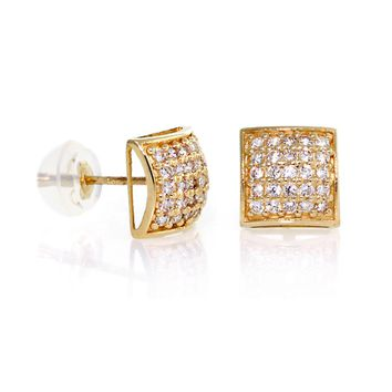 14k Gold, Square Dome Shape 7mm Men CZ Stud Earrings With Micro Pave Setting