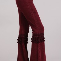 Mia Boho Maroon Bell Bottom Pants