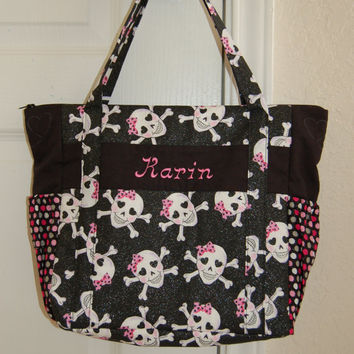 Skulls and Crossbones tote bag diaper bag black tote quilted tote cute bags bags online purse embroidered tote