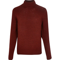 River Island MensRust roll neck knitted sweater