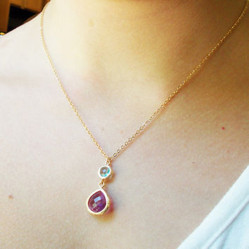 Lavender and Aqua Teardrop Necklace - Simple Gold Lavendar Pendant Necklace - GIFT FOR HER - BridesMaid Gift - Gemstone Necklace