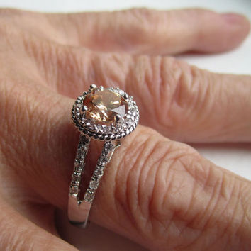 Sterling morganite ring 925 morganite ring silver morganite ring morganite jewelry morganite engagement ring crystal rings on sale clearance