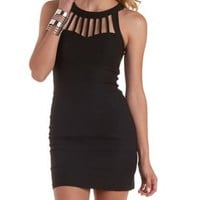 Black Caged Halter Bodycon Dress by Charlotte Russe