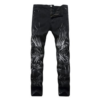3D Print Biker Men Jeans skinny Punk Denim Skull Jeans Black Trousers 28-40 Slim Fit Cotton