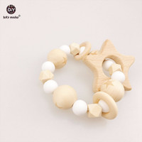Let's Make Baby Nursing Star Bracelet Wooden Teether Beads DIY Jewelry Teething Silicone Beads Baby Rattle Pram toy Bracelets