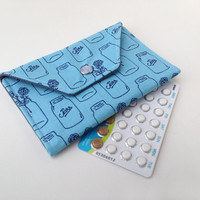 Birth Control Case / Pill Cozy - Birth Control Pill Pack / ID Wallet - Mason Jar Print