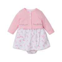 Little Me Girls 3 Piece Pink/White Allover Floral Print Dress, Pink Button Down Cardigan and Diaper Cover Set