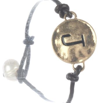 Brown Letter J Hammered Metal Charm Bracelet