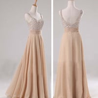 Champagne chiffon long bridesmaid dress V neck A line prom evening wedding party formal dress