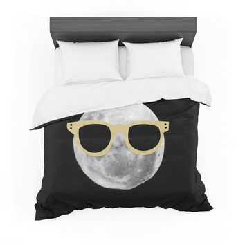 "Chelsea Victoria ""Mr. Moon"" Yellow Illustration Featherweight Duvet Cover"