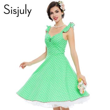 Vintage Dresses 1950s Female Summer Blue Polka Dots Sleeveless Backless Rockabilly Party Cute Dress Vintage Dresses