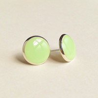Green Earrings, Pale Green Stud Earrings, Flat Top Stud Earrings, 12 mm Stud Earrings, Pea Green Stud Earrings, Resin Jewelry, For Her