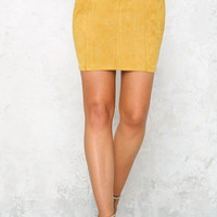 Stitches Skirt Mustard