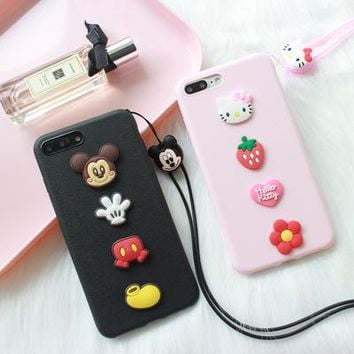 For iPhone 7 /8 plus case soft silicone 3D hello kitty back cover Cases For iphone 8 /7 plus / 6s plus cute cartoon shell +rope