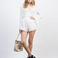 Embroidered L/S Gauze Romper