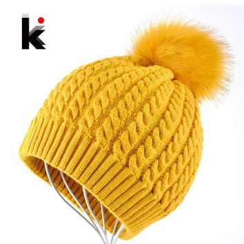 VONG2W Beanies Women Winter Cap Thicker Hair Ball Knitted Hat High Quality Cap Woman Bonnet Warm Hut Gorrs Capuchons