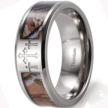 CERTIFIED 8mm Men's Titanium 3 Crosses Tree Camo Wedding Ring
