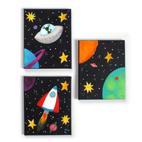 Childrens Wall Art, BLACK SPACE SET, Set of 3 8x10 acrylic canvases, Space themed kids decor, nursery art