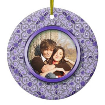 Ornate Purple Tanzanite Silver Photo Christmas Double-Sided Ceramic Round Christmas Ornament