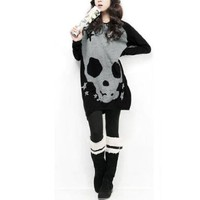 Allegra K Women Long Sleeve Skull T Shirts Loose Blouses Long Tunic Tops, Black, Large / US 14