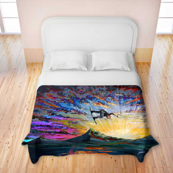 Colorful Wakeboarder Duvet Cover / Bedding - Night Ride - Artwork by Teshia