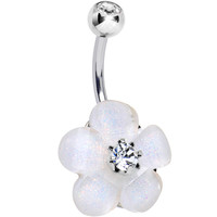 Clear Gem Glittery Budding Flower Belly Ring | Body Candy Body Jewelry