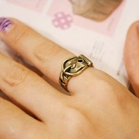 Vintage Cute Buckle Ring from LOOBACK FASHION STORE