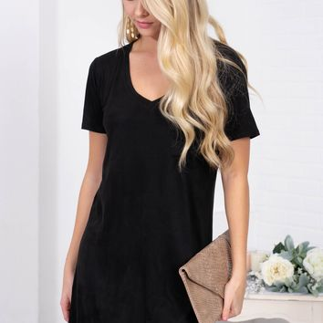 Suede Shift Pocket Dress | Black Diamond