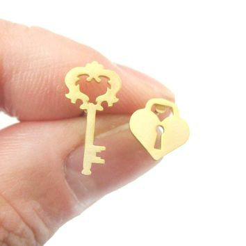Key To My Heart Skeleton Key and Heart Shaped Lock Stud Earrings in Gold | DOTOLY