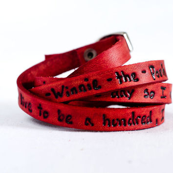 One-Hundred Minus a Day - Winnie the Pooh Quote on Ultra Long Leather Wrap Bracelet