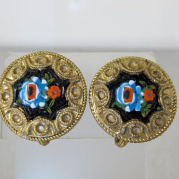 Antique Micro Mosaic Earrings, FAP Fabrica Angelo Pessar Signed Mosaics, Italian Grand Tour Mosaic Jewelry. Etruscan Screw Back Earrings