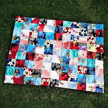 Red Hawaiian Patchwork Throw
