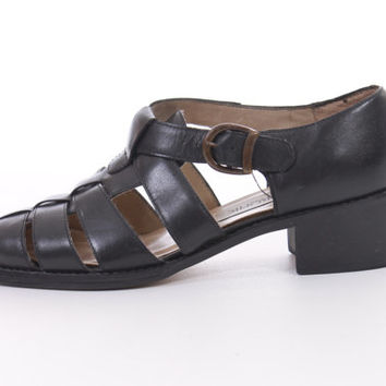 Black Leather Fisherman Sandals Strappy Chunky Heel 90s Vintage Boho Hipster Shoes Womens Size US 5.5 UK 3.5 EUR 36