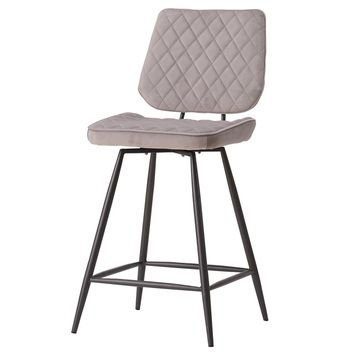 Lawson Velvet Fabric Swivel Counter Stool Conrad Gray (Set of 2)