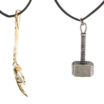Marvel Avengers Thor & Loki Cord Necklace Set