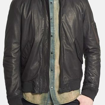 DIESEL 'L-Devra' Leather Bomber Jacket