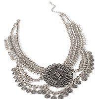 Layered Coin Fringe Necklace