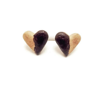Heart Earrings, Mini Cookie Jewelry, Mini Dessert, Polymer Clay Earrings, Stud Earrings, Clip On Earrings, Clay Dessert