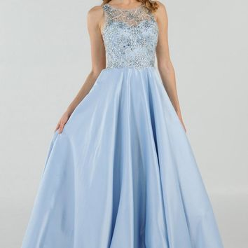 Blue Cut Out Back Beaded Long Prom Dress with Pockets