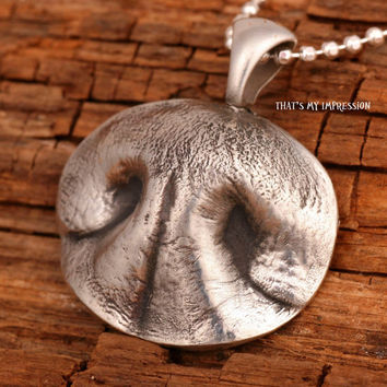Sterling Silver Dog Nose Impression Pendant, Memorial Pet Jewelry, Personalized Gifts for Pet Lovers