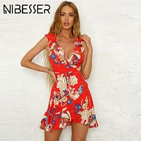 NIBESSER Summer Dress Women Sexy Beach Party Mini Sundress Floral Vintage Print Beach Dress Tunic Vestidos robe femme ete 2019