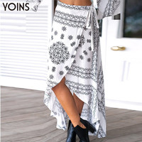 YOINS New 2016 Women Bohemian Fashion Printing Irregular Hem Long Lady Skirts High Waist Front Split Maxi Skirt Saia Feminina