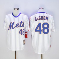 York Mets #48 Jacob DeGrom White(Blue Strip) Cooperstown Throwback Stitched Jerseys MLB Baseball Jersey